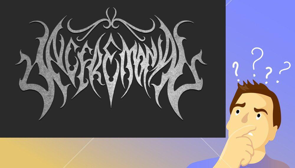 illegible black doom metal band logos