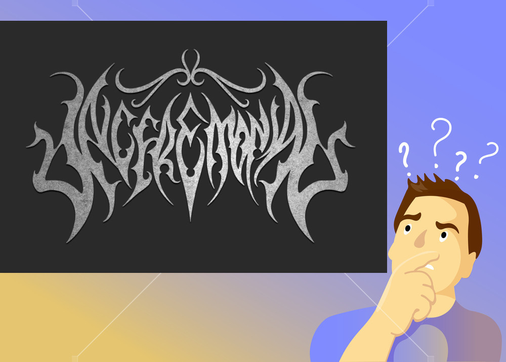 illegible black doom metal band logos