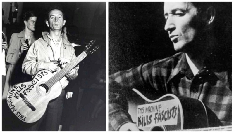 This Machine Kills Fascists - Woody Guthrie, two guitars-8x6