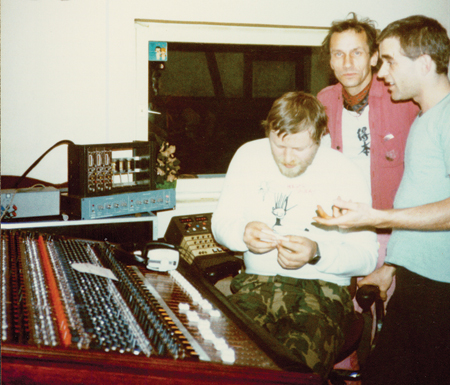 Conny Plank, Dieter Moebius and Mani Neumeier at Conny's studio, 1982