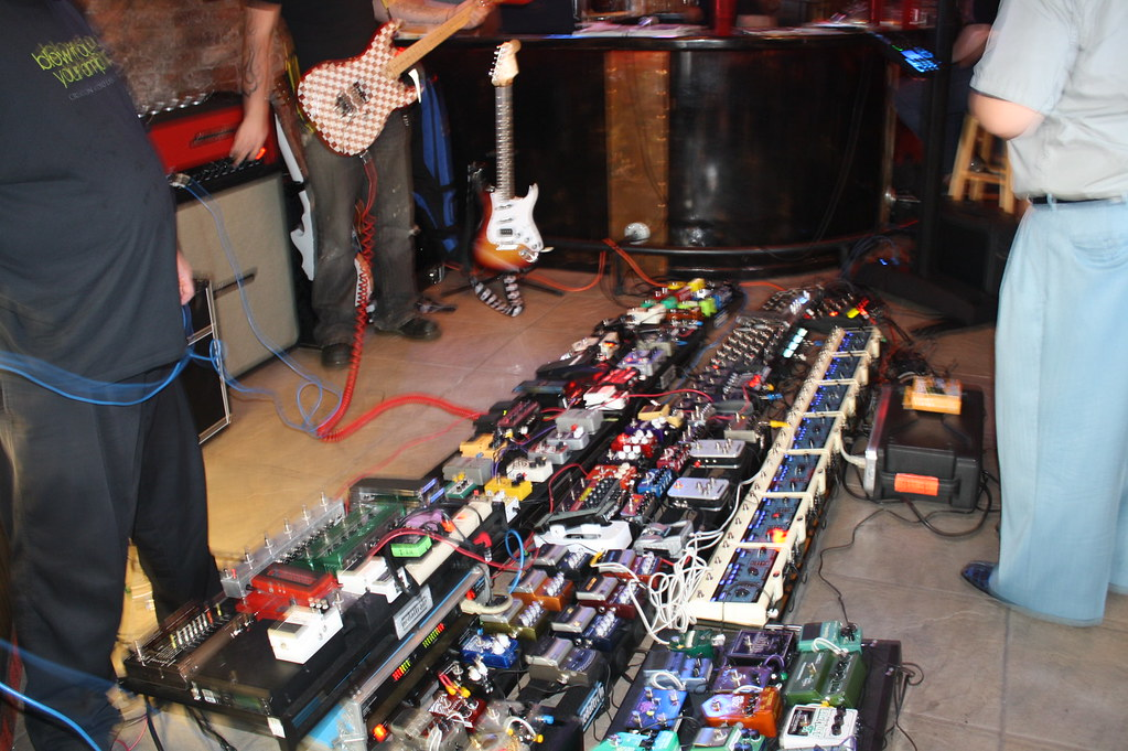 huge guitar pedal board